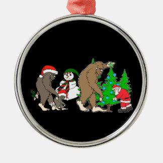 Bigfoot Santa snowman Silver-Colored Round Ornament