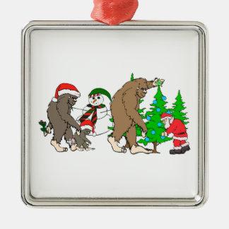 Bigfoot Santa snowman Silver-Colored Square Ornament