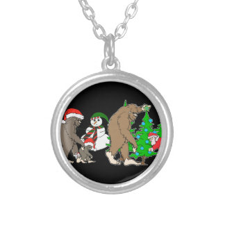 Bigfoot Santa snowman Silver Plated Necklace