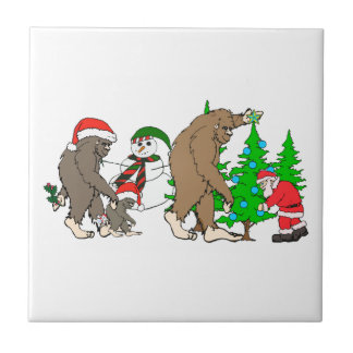 Bigfoot Santa snowman Tile