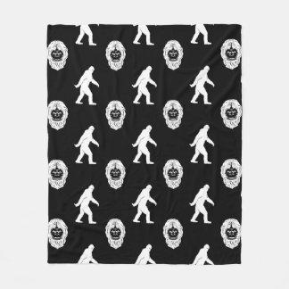 Bigfoot Sasquatch Black & White Fleece Blanket