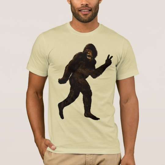Bigfoot Sasquatch Peace Sign T-Shirt