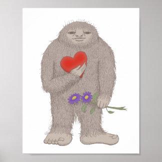 Bigfoot Sasquatch Yet in Love Weird Poster