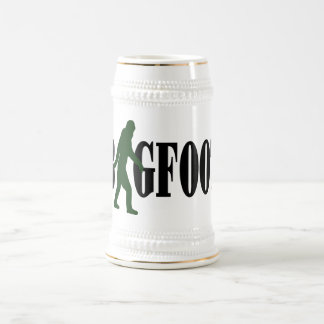 Bigfoot text & green squatch graphic beer stein