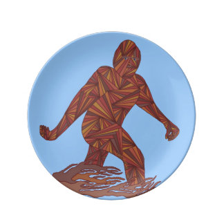 Bigfoot Walking Sasquatch On Blue Decorative Porcelain Plates