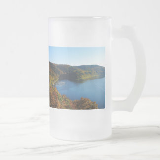 Biggetalsperre in the autumn frosted glass beer mug