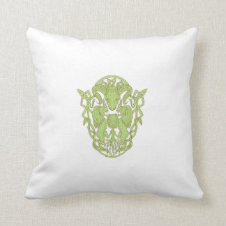 Bighorn Sheep Lion Tree Coat of Arms Celtic Knot Throw Pillow