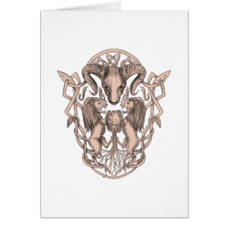 Bighorn Sheep Lion Tree Coat of Arms Celtic Knotwo Card