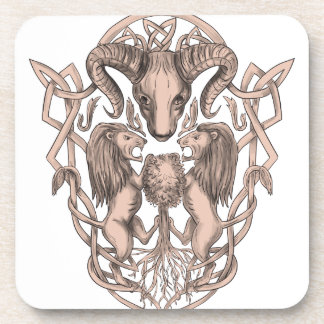 Bighorn Sheep Lion Tree Coat of Arms Celtic Knotwo Coaster