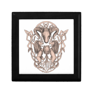 Bighorn Sheep Lion Tree Coat of Arms Celtic Knotwo Keepsake Boxes