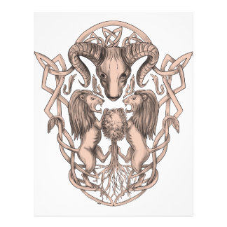 Bighorn Sheep Lion Tree Coat of Arms Celtic Knotwo Letterhead
