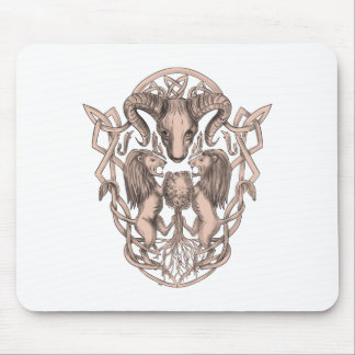 Bighorn Sheep Lion Tree Coat of Arms Celtic Knotwo Mouse Pad