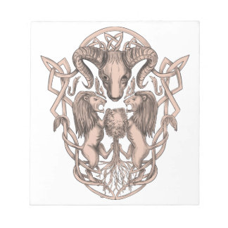 Bighorn Sheep Lion Tree Coat of Arms Celtic Knotwo Notepad