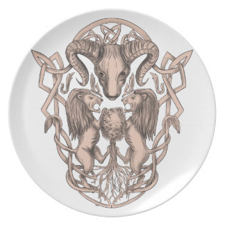 Bighorn Sheep Lion Tree Coat of Arms Celtic Knotwo Party Plates