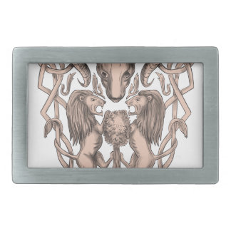 Bighorn Sheep Lion Tree Coat of Arms Celtic Knotwo Rectangular Belt Buckle