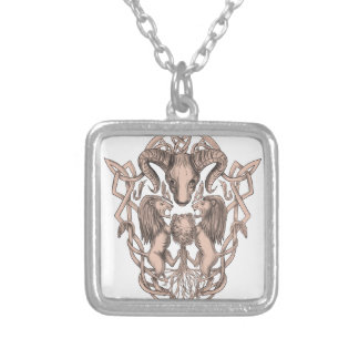 Bighorn Sheep Lion Tree Coat of Arms Celtic Knotwo Silver Plated Necklace