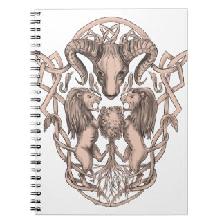 Bighorn Sheep Lion Tree Coat of Arms Celtic Knotwo Spiral Notebook