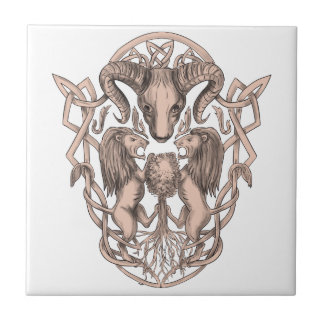 Bighorn Sheep Lion Tree Coat of Arms Celtic Knotwo Tile