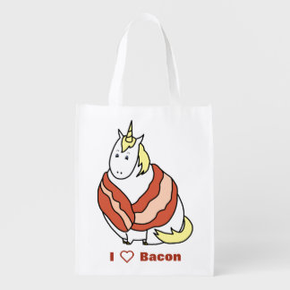 Bijorn The Chubby Unicorn Loves Bacon Reusable Grocery Bag