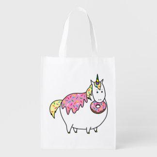 Bijorn The Chubby Unicorn Loves Sprinkle Doughnuts Reusable Grocery Bag