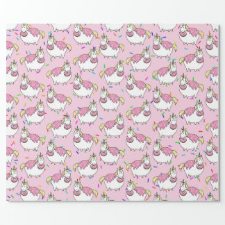 Bijorn The Chubby Unicorn Loves Sprinkle Doughnuts Wrapping Paper