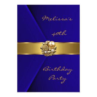 Bijou bleu de perle d'or de velours de fête carton d'invitation  12,7 cm x 17,78 cm