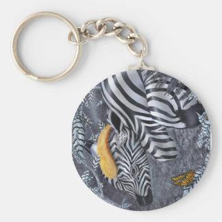 Bijou du nior et blanc basic round button keychain