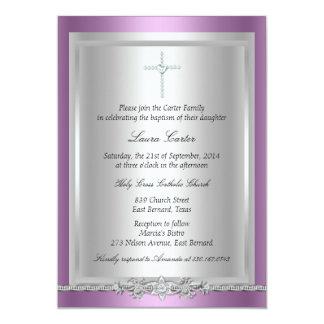 Bijou et baptême de croix/invitation de baptême carton d'invitation  12,7 cm x 17,78 cm