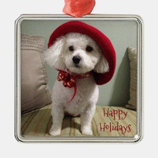 Bijou Holiday Ornament- Square Silver-Colored Square Ornament