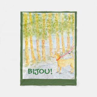 Bijou takes a walk fleece blanket
