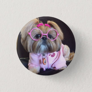 Bijou the fashion diva Shih Tzu 1 Inch Round Button