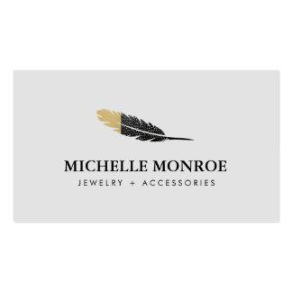 Bijoux de Bohème frais de plume, gris de boutique Carte De Visite Standard