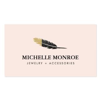 Bijoux de Bohème frais de plume, rose de boutique Carte De Visite Standard