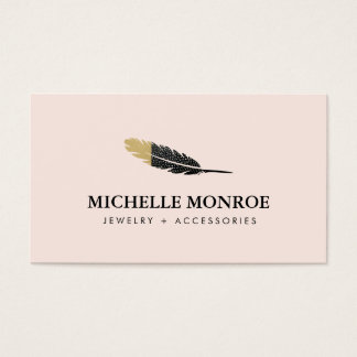 Bijoux de Bohème frais de plume, rose de boutique Cartes De Visite