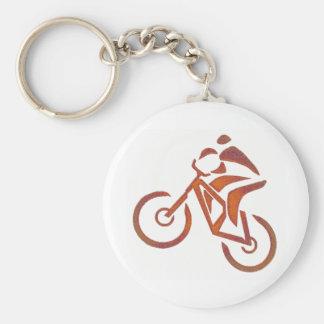 Bike All Downhill Basic Round Button Keychain