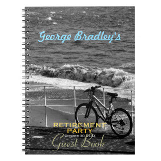 Bike and Sea Retirement Party Custom Guest Book Spiral Notebook