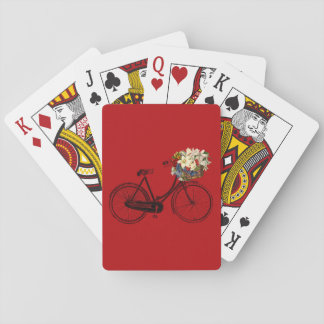 Bike bicycle flower playing cards red