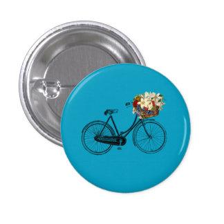 Bike bicycle flower pretty button pin blue