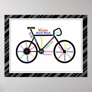 Bike, Bicycle  Sport, Motivational Words & Stripes Poster