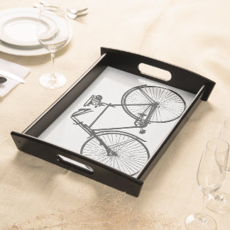 Bike bicycle white black serving tray