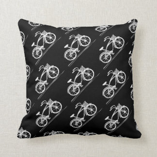 Bike Black and White Bicycles Pattern Throw Pillow