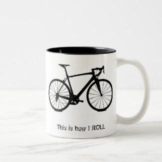 Bike bw , This is how I ROLL Two-Tone Coffee Mug