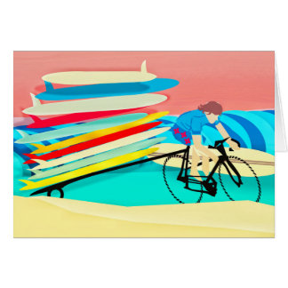 Bike Carrying Surfboards Card
