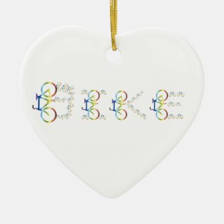 Bike Ceramic Heart Ornament