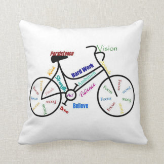 Bike, Cycle, Motivational Words Throw Pillow