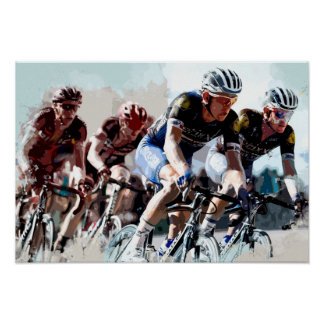 Bike Cyclists Battling for Position Poster