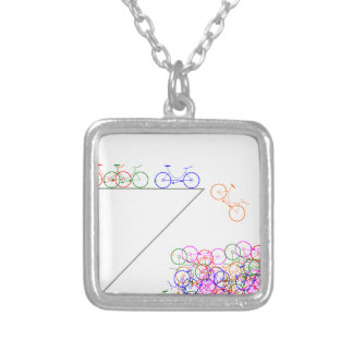 Bike falling off has cliff silver plated necklace