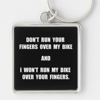 Bike Fingers Silver-Colored Square Keychain