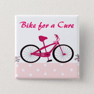 Bike for a Cure - Pink Bicycle 2 Inch Square Button