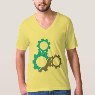 Bike Gears, Teal & Gray Design. T-Shirt